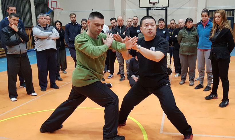 Майстор Чън Индзюн и Майстор Светослав Сомов демонстрират бутащи ръце