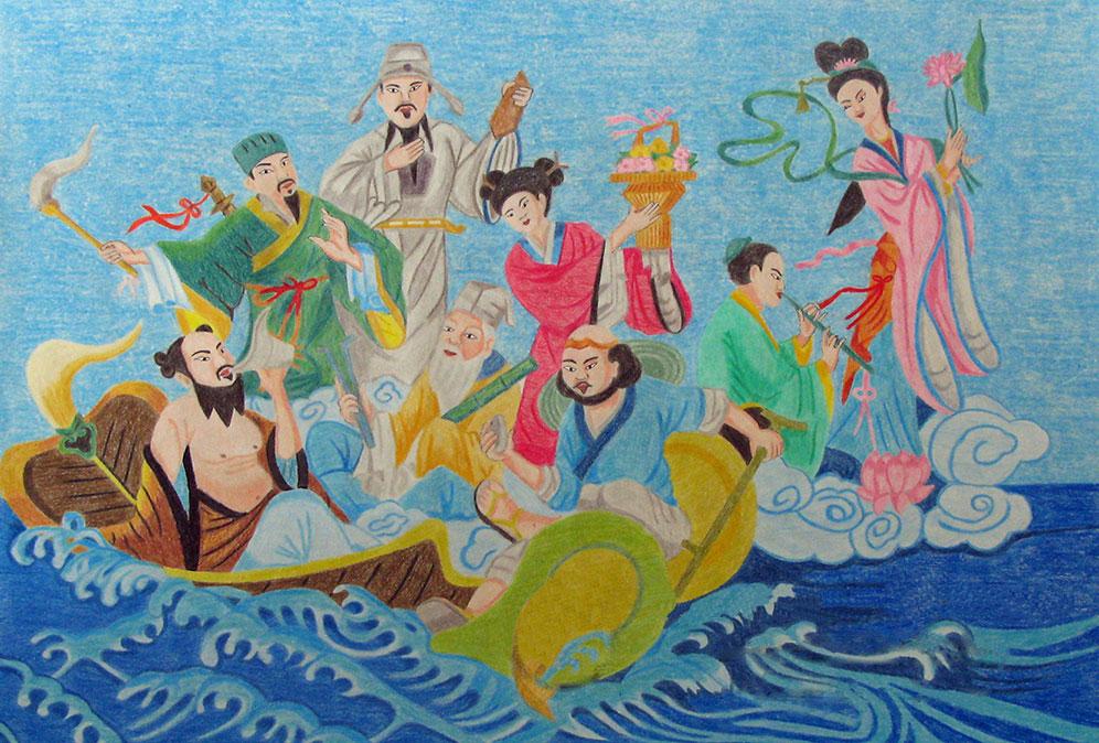 Осемте безсмъртни даоси - по китайска рисунка