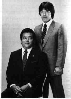 The late Ashihara with Enshin Karate Kancho Ninomiya