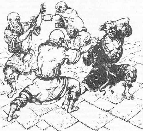 Тренировка на монаси в двора на манастира.