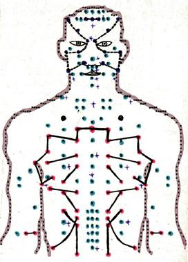 Част от чертеж на ЕИМ, със състоянието на акупунктурните точки в 12 часа на обяд.