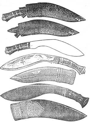 """Сърповиден нож """"кукри"""" използван в Непал и Индия. Непалски """"кукри"""" от XIX-XXв. (по Попенко)"""